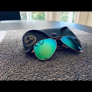 😎Ray Ban Aviator Green/Blue Flash Sunglasses